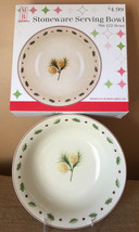 """Merry Brite Serving Bowl 9"""" Holiday Home Christmas Pine Excellent Condit... - $12.99"""