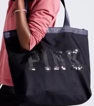 Victoria's Secret Pink Black Zipper Zip Top Tote Bag Pink Logo Bling Carryon - $28.90