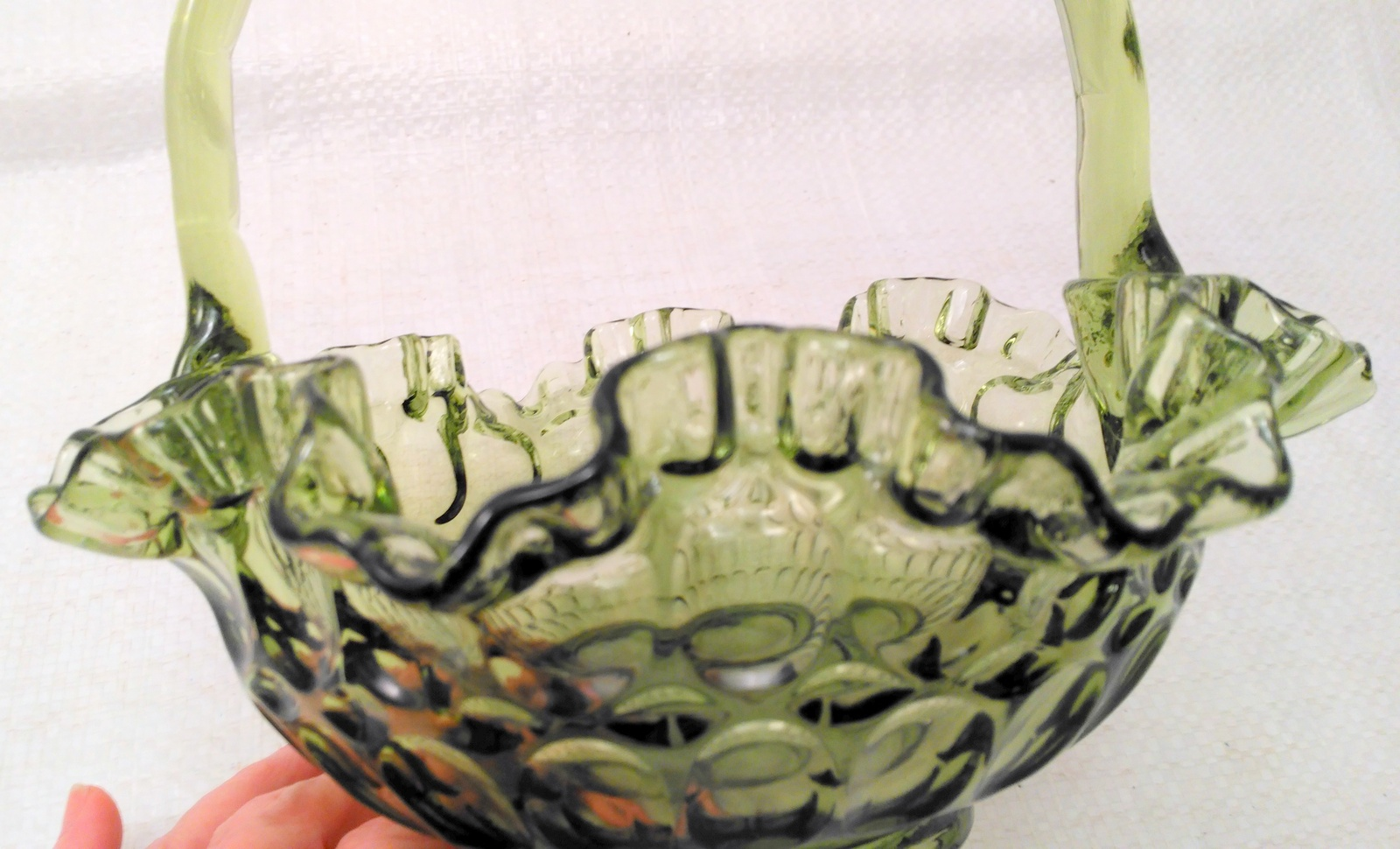 "Vintage Unmarked Fenton Colonial Green Thumbprint Ruffled Edge Basket 8"" Tall"