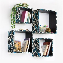 Trista - [Blue Giraffe] Square Leather Wall Shelf / Bookshelf / Floating... - $130.62