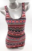 Rue 21 Tank Top Size Medium Pink Black Blue Geometric Scoop Neck Sleeveless - $8.71