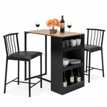 Dining Table Set Small With Storage Shelves 3 Piece Kitchen Apartment Fu... - $193.04