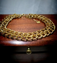 Trifari Gold Plated Double Chain Collar Necklace - $24.00