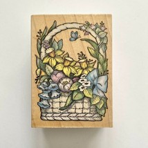 All Night Media SPRING BOUQUET Rubber Stamp Flower Basket Easter Wood Mounted - $2.97