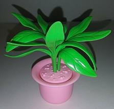 Vintage Barbie House Plant 4in Pink Pot Green Leaves Fern Miniature Mattel - $9.99