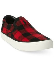 New Men's Polo Ralph Lauren Red Black Wool Plaid Slip on Sneakers Shoes ... - $34.29