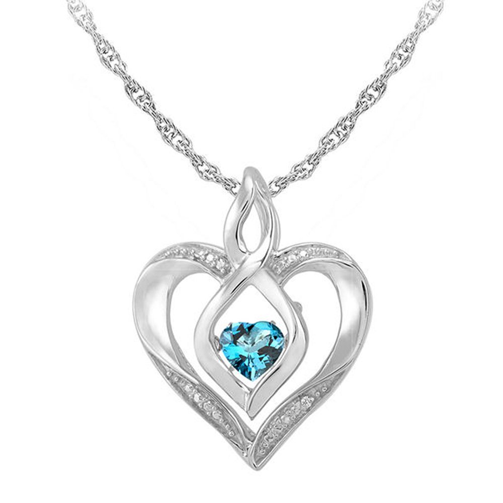 "Primary image for Topaz & Sim.Diamond-Accent 14K White Gold Fn Heart Pendant W/ 18"" Chain Necklace"