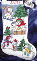 Bucilla White Christmas Bears Skating Ski Sled Cross Stitch Stocking Kit 83439 - $84.95