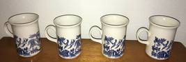 Blue Willow Pattern Mugs Set Of 4 Made In England - $29.99