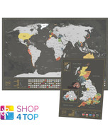 WORLD AND UK SCRATCH MAP SET BLACK SILVER TRAVEL TRACKER JOURNAL WALL PO... - $34.63