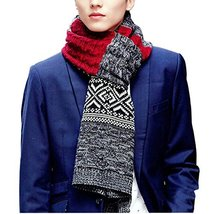 Teen Boys Mens Contrast Color Long Scarves Winter Warm Cozy Leisure Mufflers Nec image 3