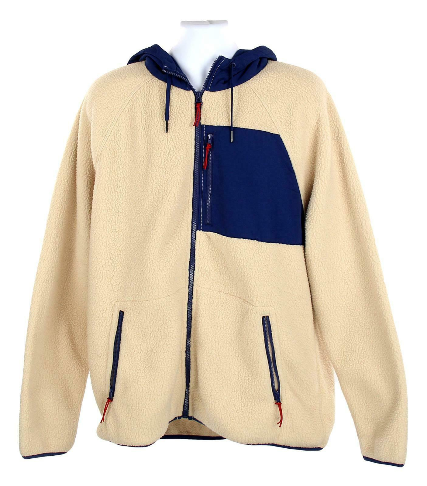 J Crew Mens Sherpa Zip Front Hooded Jacket Fleece Coat XL Navy Cream K4296