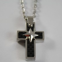 STAINLESS STEEL CARBON CROSS PENDANT, STAR, ROLO CHAIN, NECKLACE BY ZANCAN image 1