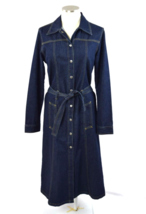 Denim Dress Trench Coat Shirt Jean Vtg 90s Western Button Down Belted Mi... - $41.57