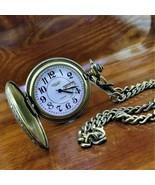 RARE Vintage Gruen SWISS Bronze Embossed Day & Date Pocket Watch with Ch... - $139.95