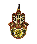 Metal Hamsa Hand Wall Decor Evil Eye Priestly Blessing Home Red Enamel G... - $23.28