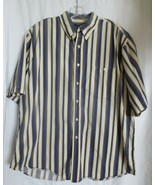 Men's Roundtree & Yorke Striped Short Sleeve Shirt Button Down Cotton Sz XL - $15.00