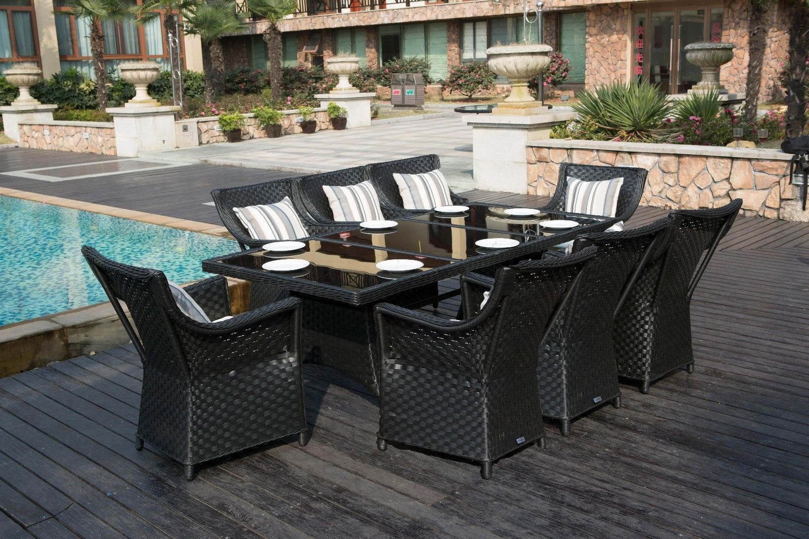 Rectangle Rattan Dining Table with 8 Chairs Garden Conservatory Patio Dining set