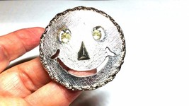 Happy Face Rhinestone Eyes Vintage Pin Pendant - $17.69
