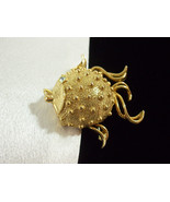 Rhinestone Gold Puffer Fish Solid Perfume Locket Brooch Pin Fuller Brush... - $18.76
