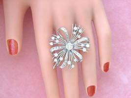 VINTAGE 2.34 ctw DIAMOND 14K BOW RIBBON STATEMENT COCKTAIL BROOCH PIN 1950 - $2,474.01