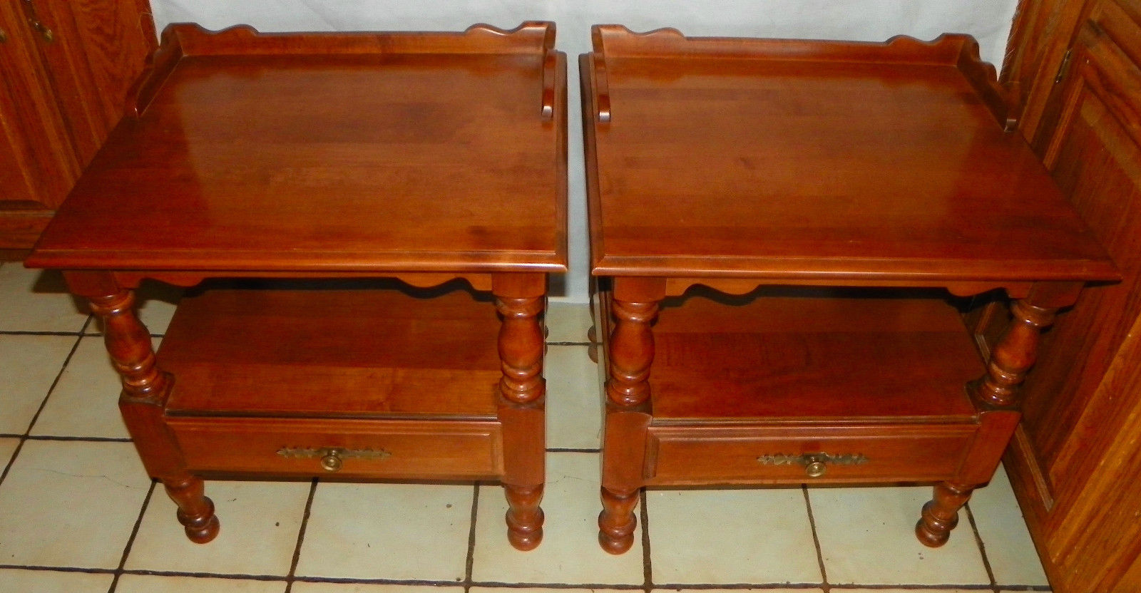 57 Pair Of Maple End Tables Side By Tell City
