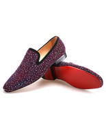 Merlutti Red Crystals Suede Men's Flats - $199.99