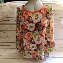 Women Blouse Top Floral Sheer Chiffon Size XL Print Long Sleeve Loose Fi... - $15.12