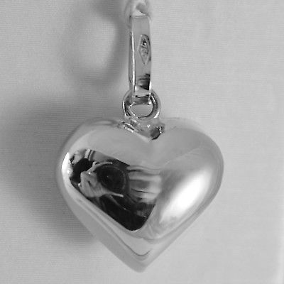 18K WHITE GOLD ROUNDED MINI HEART CHARM PENDANT SHINY 0.79 INCHES MADE IN ITALY
