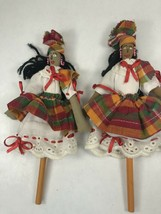 "Handmade Primitive Cloth African Pencil Top Dolls 9"" - $24.74"