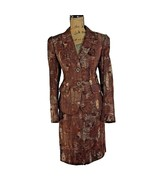 Antonio Melani 10 Large Blazer Pencil Skirt Suit Brown Gray Burnout Care... - $45.95