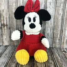 Disney Parks Minnie Mouse Corduroy Classic Ribbed Stuffed Plush Doll Red... - $34.64