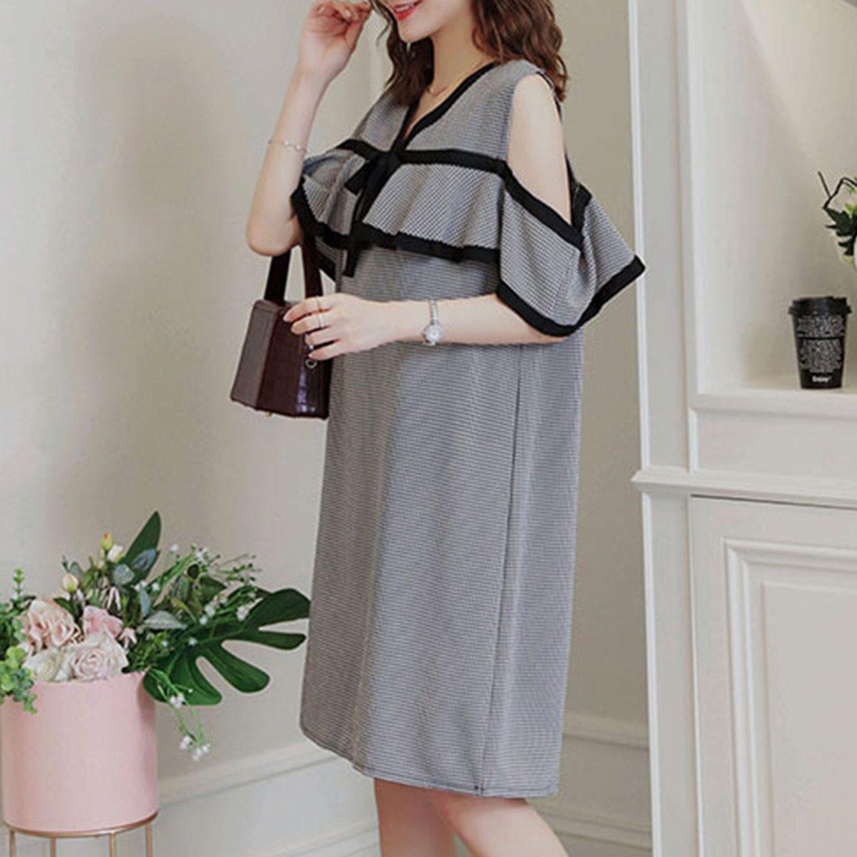 Maternity Dress Off The Shoulder Plaid Ruffles V-Neck Straight Dress image 3