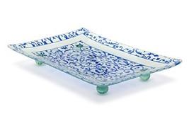 Florentine Designed Blue Tempered Glass Rectangular Serving Tray on Glas... - £20.25 GBP