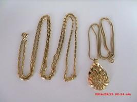 "1 Crown T Hang Tag Trifari 54"" Necklace & 1 Modernist Pendant Gold Necklace - $29.00"