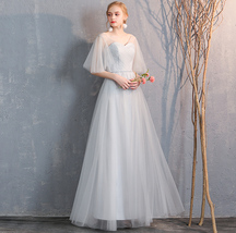 Floor Length Maxi Bridesmaid Dresses Tulle Wedding Dress Light Gray Off Shoulder image 5