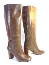 LANDS END sleek brown leather sophisticated block heel boots 6 $289 - $54.40