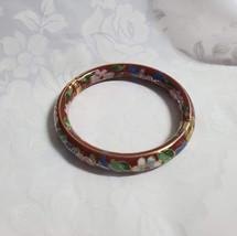 Bangle Bracelet, Cloisonne, Asian Style, Floral on Reddish Background, H... - $29.70