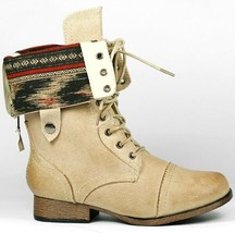 Natural Beige Faux Leather Fold Down Plaid Mid-Calf Lace-Up Military Combat Boot - $14.99