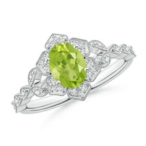 0.99ct Oval Peridot Trillium Floral Shank Cocktail Ring in Gold Size 3-13 - $746.10