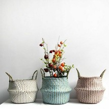 Woven Flower Pot With Handle Wicker Folding New Storage Basket Garden Ho... - $15.27