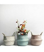 Woven Flower Pot With Handle Wicker Folding New Storage Basket Garden Ho... - $352,51 MXN