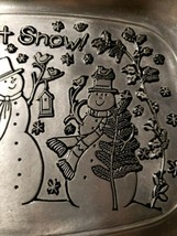 Susan Winget Let It Snow Bread Tray Christmas Holidays Pewter Snowman Bi... - $14.00