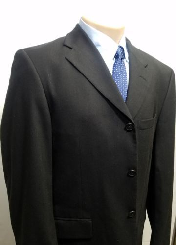 CLAIBORNE COMPONENTS MEN'S SPORTS COAT 3-BUTTON BLACK 100% WOOL 42R RN#26482 EUC