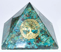 80mm Orgone Chrysocolla & Tree of Life pyramid - $49.00
