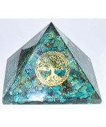 80mm Orgone Chrysocolla & Tree of Life pyramid - $49.00