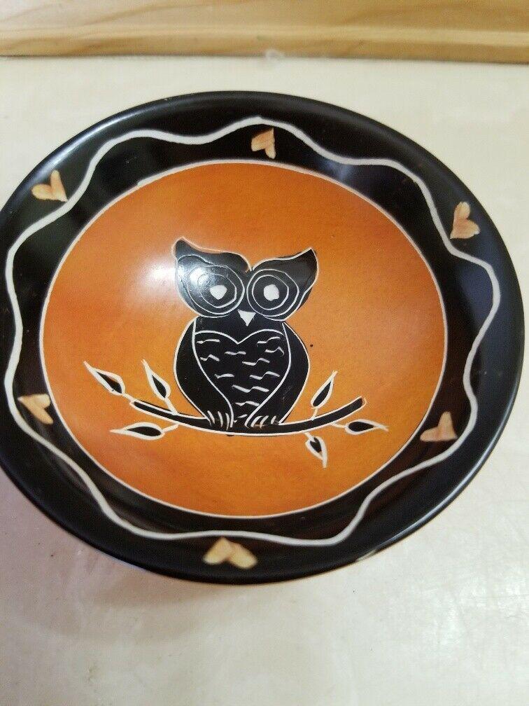 3 Small Round Ceramic Trinket Dishes Owl Owls Black Orange Free Shipping