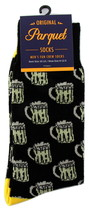 Beer Mug Socks Mens Novelty Crew Black Casual Cotton Blend Drinking Sock... - $12.95