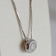 18K WHITE GOLD NECKLACE WITH DIAMOND 0.25 CARATS, VENETIAN CHAIN MADE IN ITALY image 2