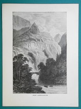 WALES Pass & Bridge of Aberglaslyn,  - 1877 Wood Engraving Illustration - $8.09